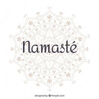 Namaste achtergrond met mooie hand getekende mandala