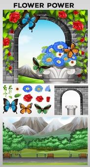 Natuur scène met park en tuin