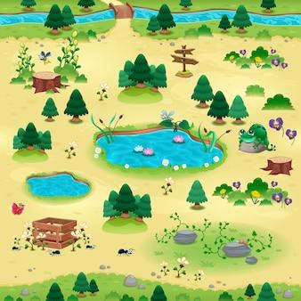 Natuurlijke tems voor spelletjes en app Objecten op gele achtergrond zijn geïsoleerd De scène kan eindeloos aan de zijkanten herhalen