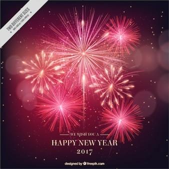 Nieuw jaar 2017 lichte vuurwerkachtergrond