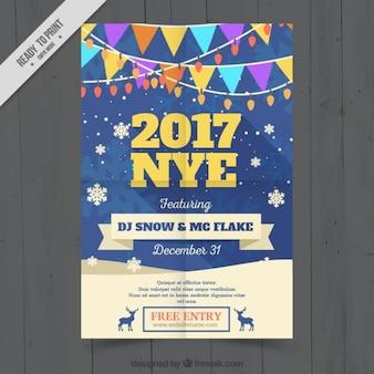 Nieuw jaar brochure met kleurrijke slingers en sneeuwvlokken