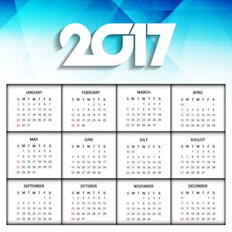 Nieuwe jaar 2017 kalender modern ontwerp