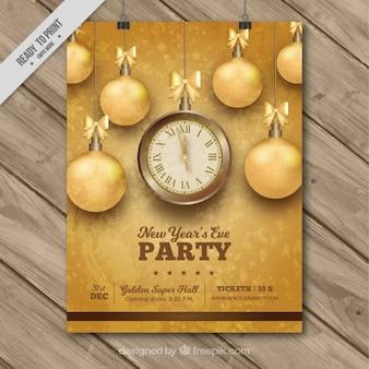 Nieuwe poster jaar feest met gouden kerstballen