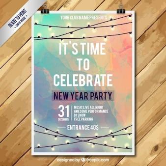 Nieuwjaar partij poster in aquarel stijl