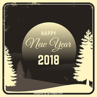 Nieuwjaar vintage achtergrond met landschap 2018