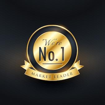 No 1 marktleider gouden label en badge ontwerpen