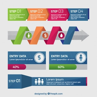 Nuttig infographic banners in plat design