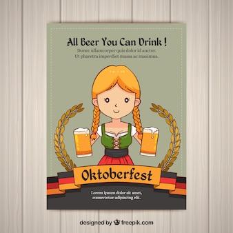 Oktoberfest uitnodiging van meisje met bieren