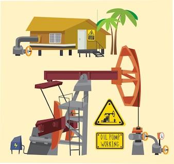 Olievoorwerpen landschap en uitrusting. Vector illustratie