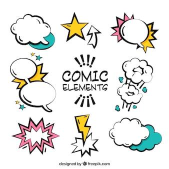 Ollectie van artistieke comic tekstballonnen