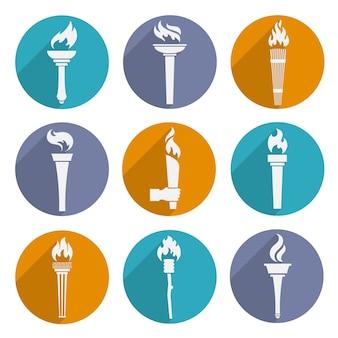 Olympische fakkel pictogrammen