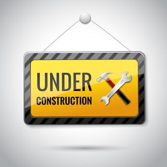 Onder constructie embleem icoon