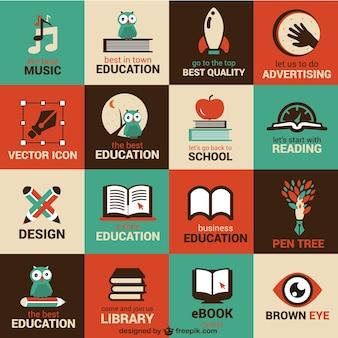 Onderwijs en wetenschap plat symbolen
