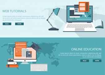 Onderzoek en onderwijs categorie achtergrond banners