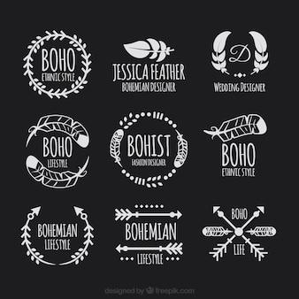 Ongemonteerd van logo's in boho stijl