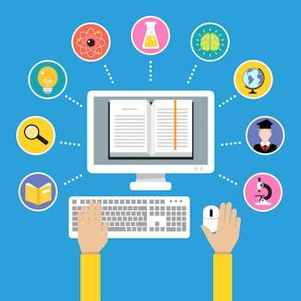 Online onderwijs e-learning wetenschap concept met menselijke hand en computer boek vector illustratie