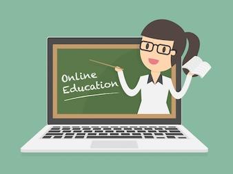 Online onderwijs op laptop