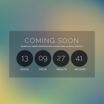 Onscherpe achtergrond met binnenkort tekst en countdown timer