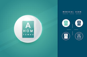 Oogvisie controleren medisch pictogram