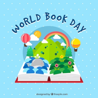 Open boek achtergrond met imaginaire wereld
