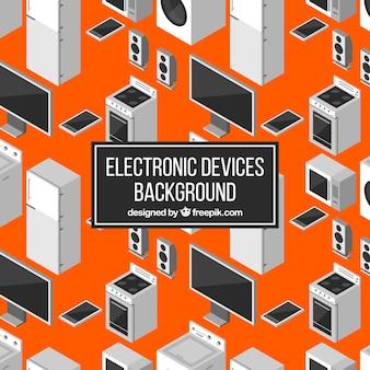 Oranje achtergrond met apparaten en computer