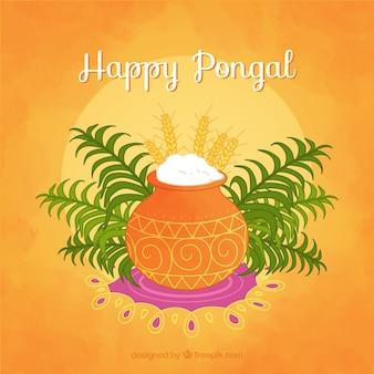 Oranje achtergrond met rijst en pot voor Pongal