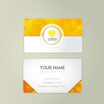 Oranje aquarel visitekaartje ontwerp