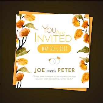 Oranje bloem bruiloft uitnodiging
