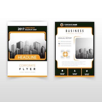 Oranje rug en voorkant corporate flyer