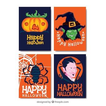 Origineel pak met platte halloween kaarten