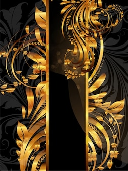 Ornament goud template vignet bloem