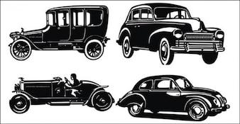 Oude auto en jeep silhouetten
