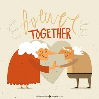 Oude paar in de liefde