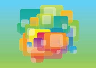 Overlappende gekleurde vierkantjes