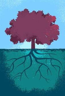 Paars boom illustratie