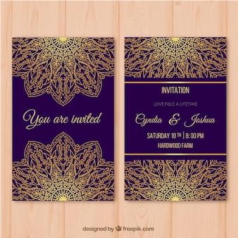 Paars trouwkaart met gouden mandala