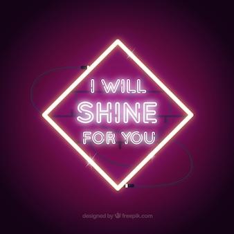 Paarse achtergrond van neon licht frame met een boodschap