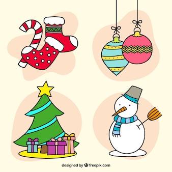Pack van kerst hand getekende elementen en sneeuwman