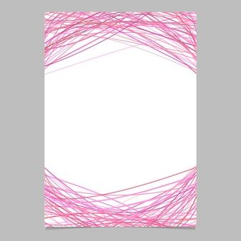 Pagina sjabloon met willekeurige gebogen lijnen in roze tinten - lege vector poster illustratie op een witte achtergrond