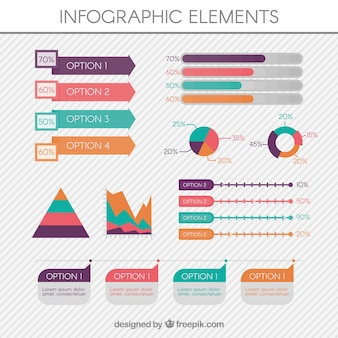 Pak van bruikbare infografische elementen met verschillende kleuren
