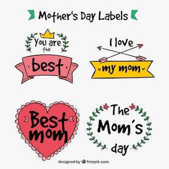 Pak van de dag met de hand getekende moeder stickers