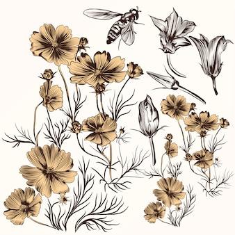 Pak van de hand getekende bloemen en bijen