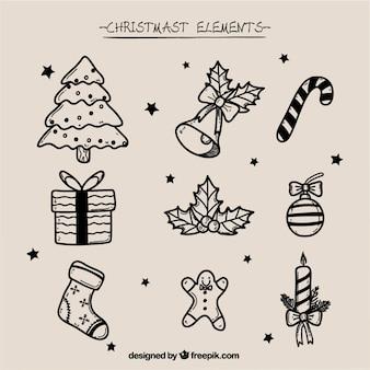 Pak van de hand getekende kerst elementen