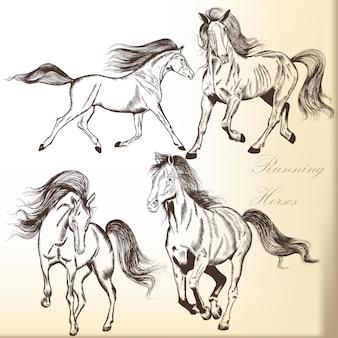Pak van de hand getekende paarden