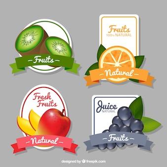 Pak van fruit stickers in realistische stijl