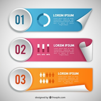 Pak van gekleurde infographic banners in realistische stijl
