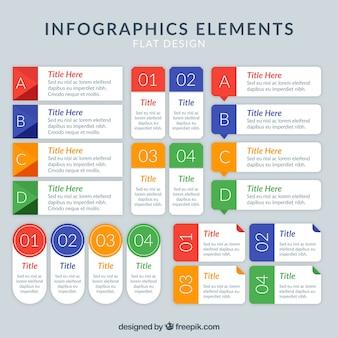 Pak van infographic elementen met gekleurde informatie