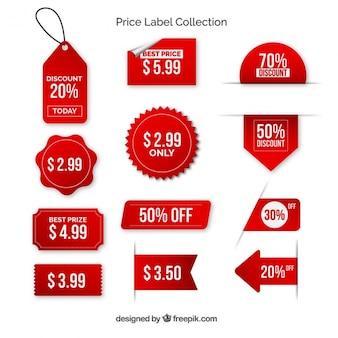 Pak van rode prijsetiketten met met letters