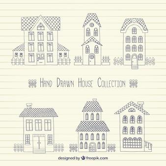Pak van schetsen van de huizen in vintage stijl