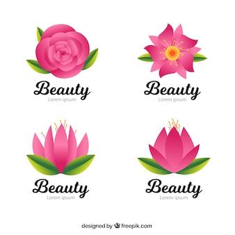 Pak van schoonheid logo's met roze bloemen